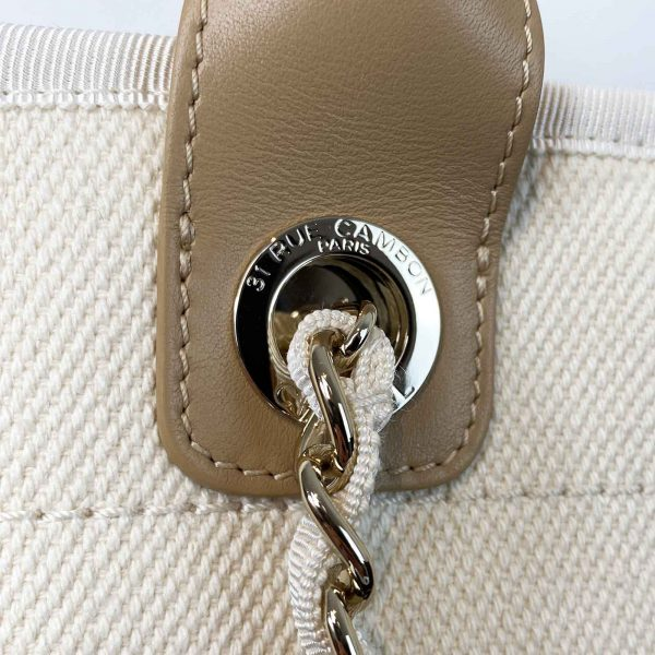 Chanel Pearl Deauville Tote Bag Ecru Beige handle