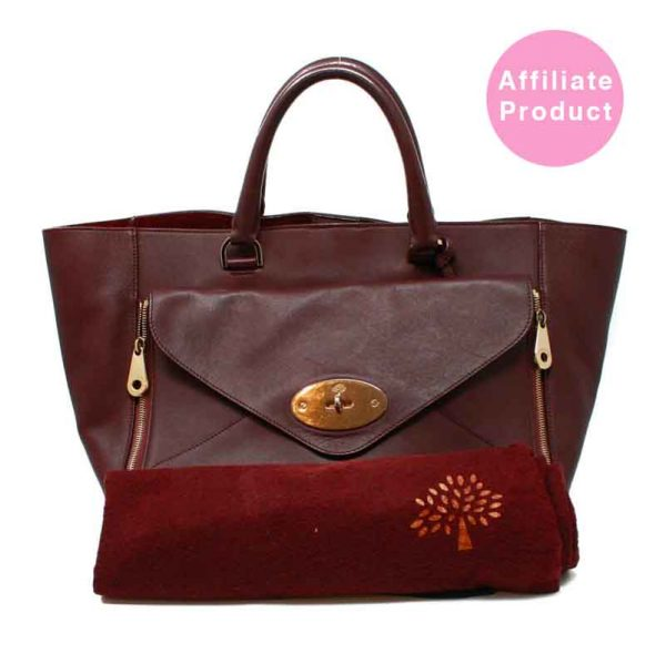 Mulberry Oxblood Large Willow Tote Bag with Gold hardware