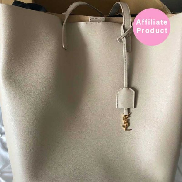 Nude Saint Laurent tote bag with gold hardware