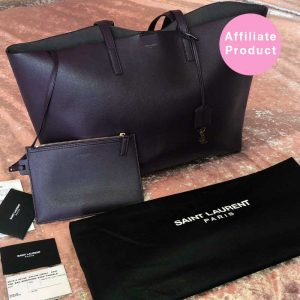 Saint Laurent YSL Black Large Tote Bag with Pouch