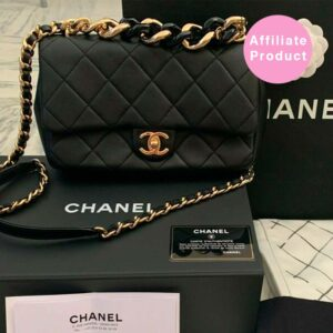 Chanel black medium classic flap with chunky chain gold