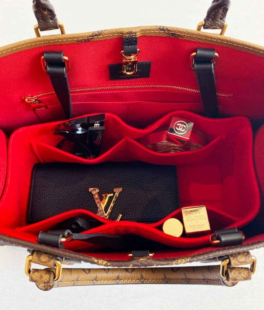 Louis vuitton onthego tote bag with handbag liner to organize belongings