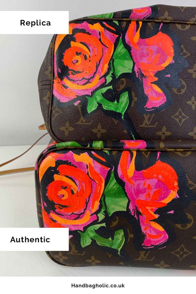 bottom of real vs fake louis vuitton neverfull comparison