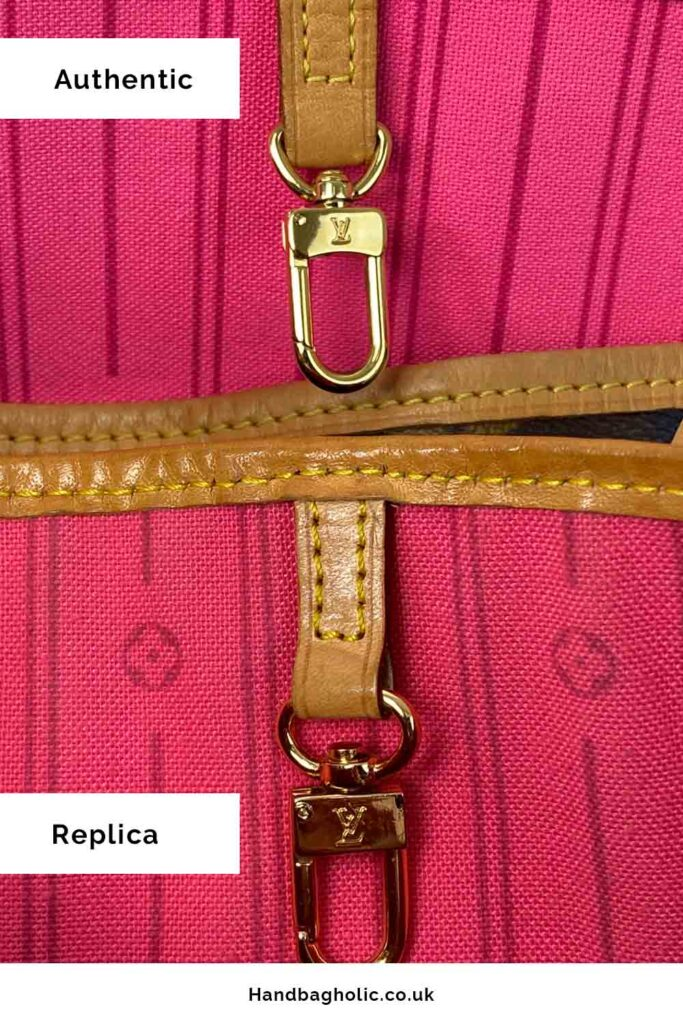 close up hardware clip fastening of real and replica louis vuitton neverfull