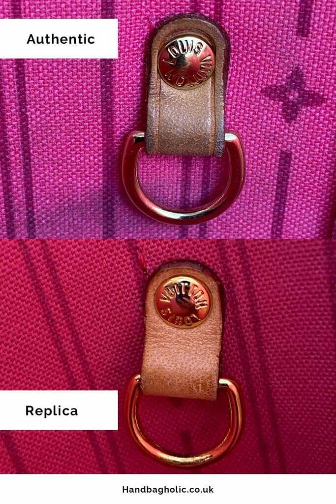 authentic vs replica hardware inside clip comparison on lv neverfull mm bag