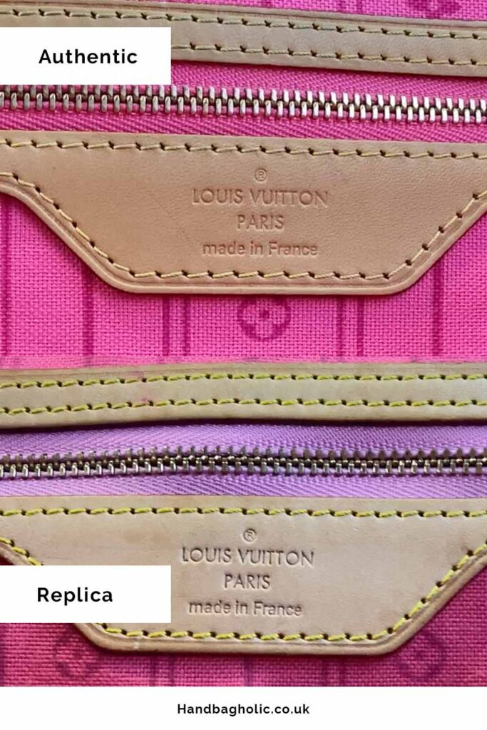 louis vuitton paris made in leather tab real vs fake in louis vuitton neverfull mm