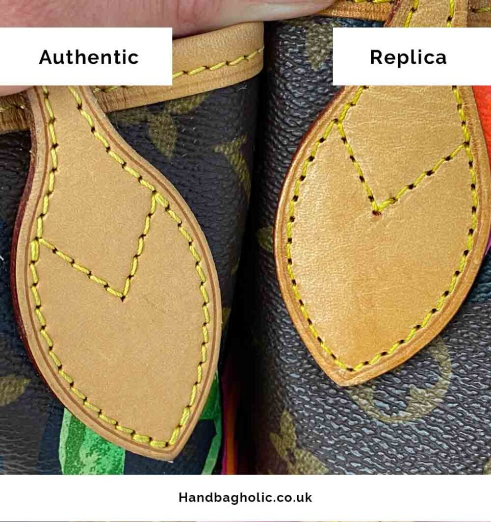 real vs fake leather handle comparison on lv neverfull mm