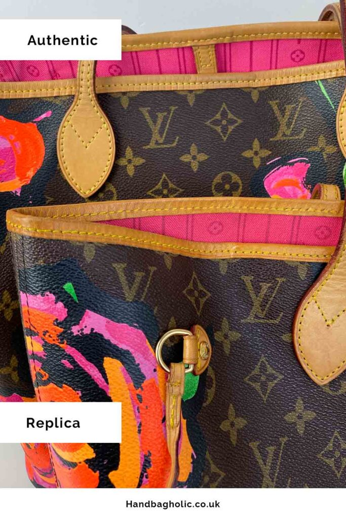Fake Vs Real Louis Vuitton Neverfull MM Tote Bag close up stitching and canvas