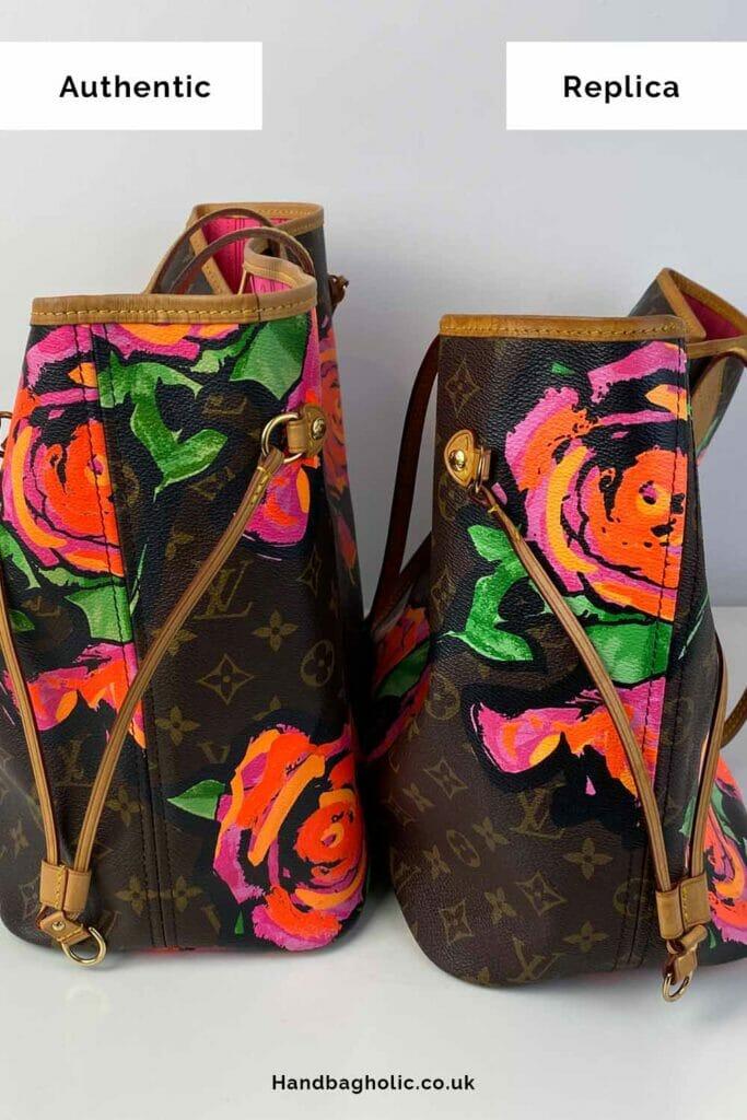 Left: Authentic louis vuitton bag. Right: Fake Louis Vuitton neverfull bag