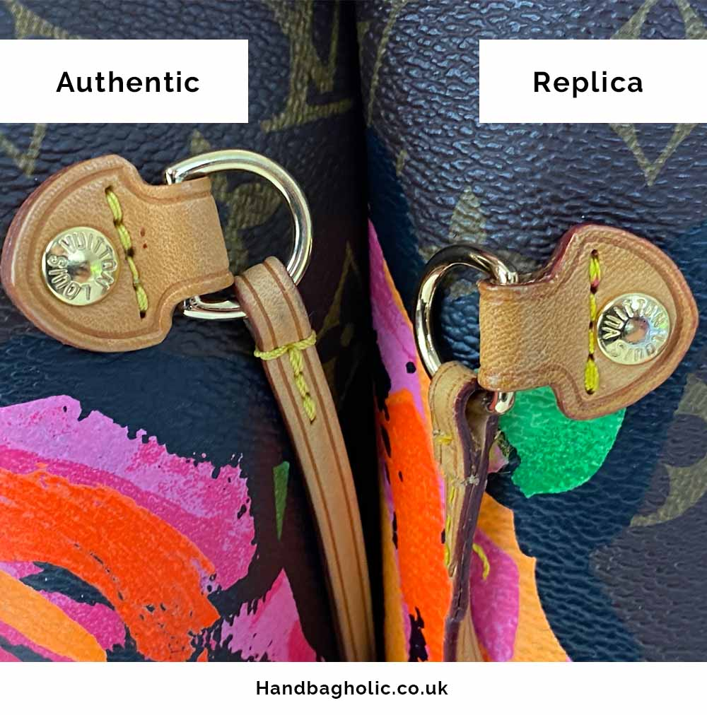 side leather straps detail comparison between real and fake lv neverfull bag