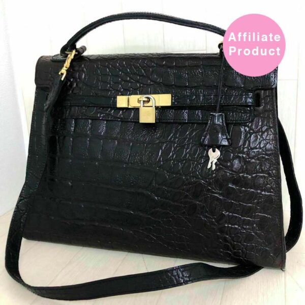 Mulberry black croc print kelly bag