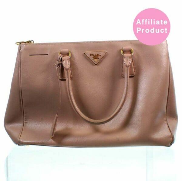 Pink Prada double zip saffiano bag beige pink leather