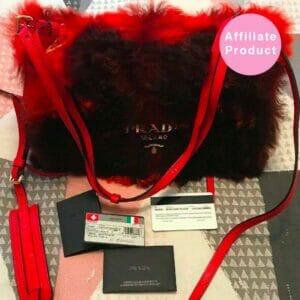 Red Shearling Fur Monotone Black Prada Flap Bag