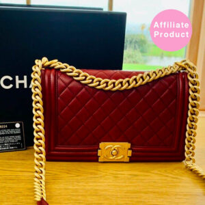 Chanel old medium boy bag burgundy dark red gold hardware