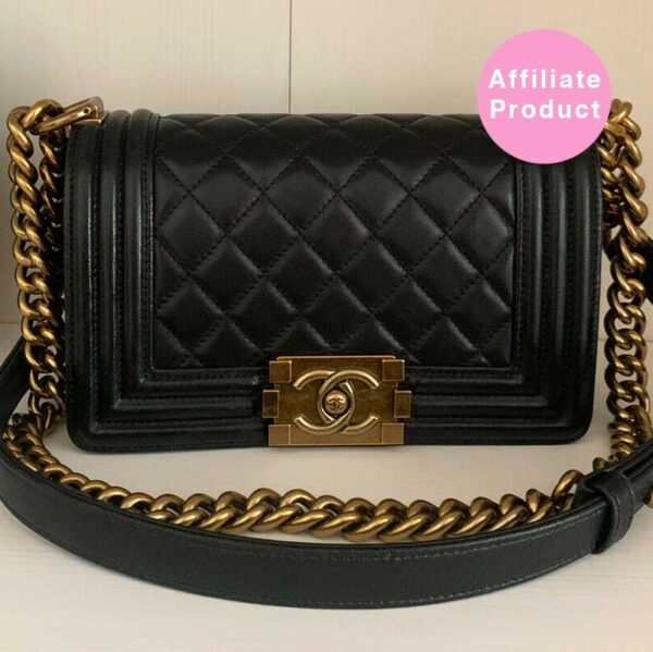 Chanel le boy bag black quilted lambskin gold hardware small bag