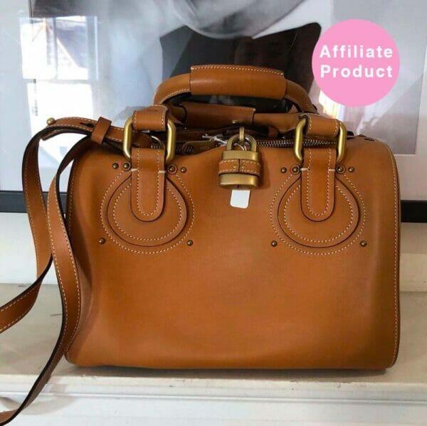 Chloe Brown Leather Bag padlock top designer deals