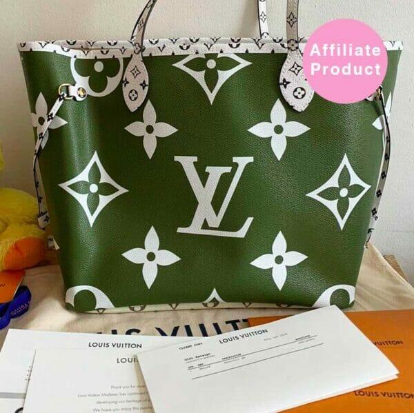 Louis Vuitton Neverfull MM Giant Monogram Green Khaki