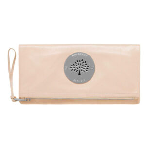 Mulberry Pear Sorbet Daria Clutch Bag Leather Beige Cream Silver Hardware front image
