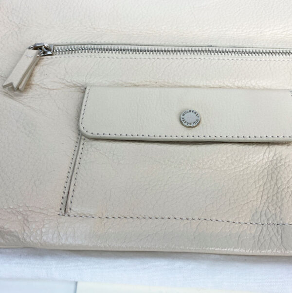 Mulberry Pear Sorbet Daria Clutch Bag Leather Beige Cream Silver Hardware inner pocket