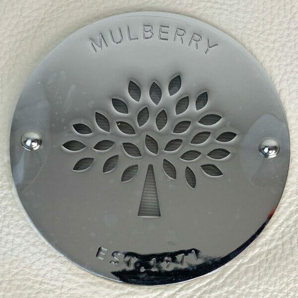 Mulberry Pear Sorbet Daria Clutch Bag Leather Beige Cream Silver Hardware metal logo