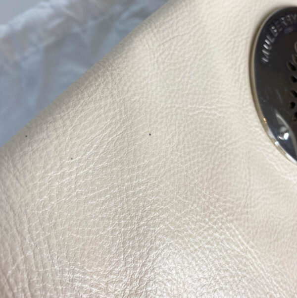 Mulberry Pear Sorbet Daria Clutch Bag Leather Beige Cream Silver Hardware tiny ink splatter