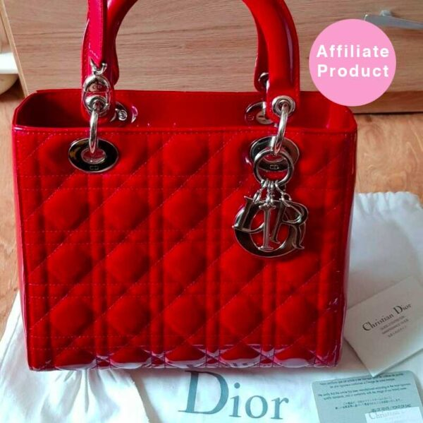 Red Lady Dior small bag patent leather silver hardware