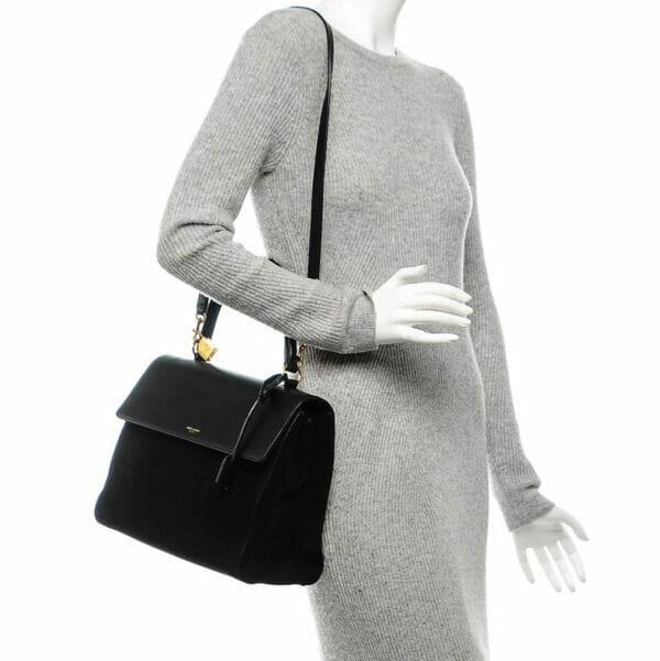 Saint Laurent Moujik Avec Black Bag suede and leather on model
