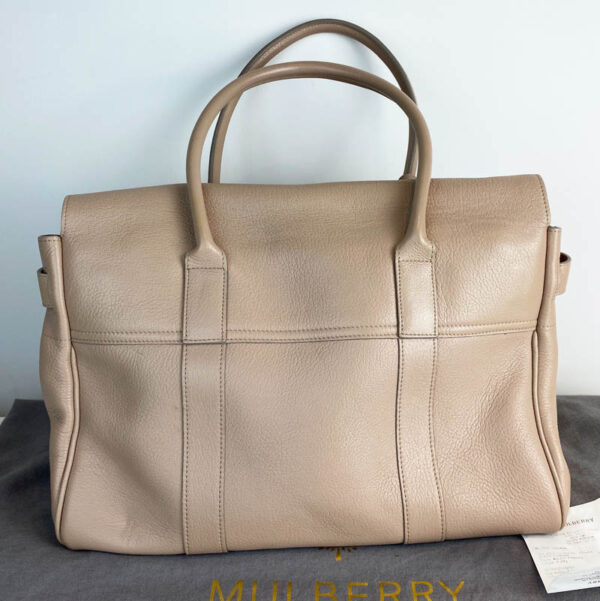 Mulberry bayswater pebble putty nude beige bag back