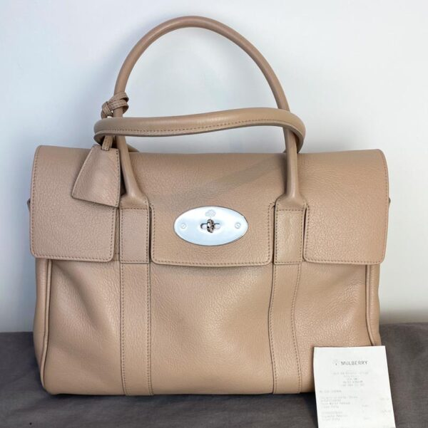 Mulberry bayswater pebble putty nude beige bag front