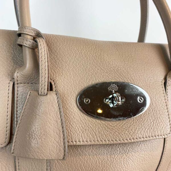 Mulberry bayswater pebble putty nude beige bag postman lock 2 silver hardware
