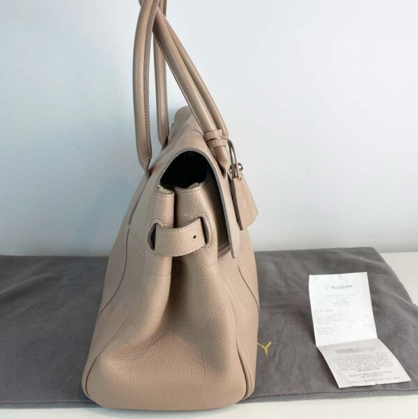 Mulberry bayswater pebble putty nude beige bag side