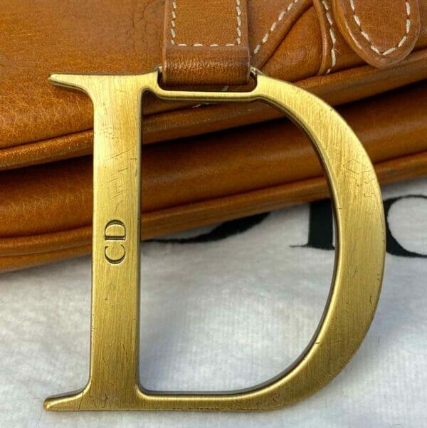 Dior Saddle Bag Tan Camel Gold Hardware D logo Close