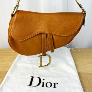 Dior Saddle Bag Tan Camel Gold Hardware on person model front