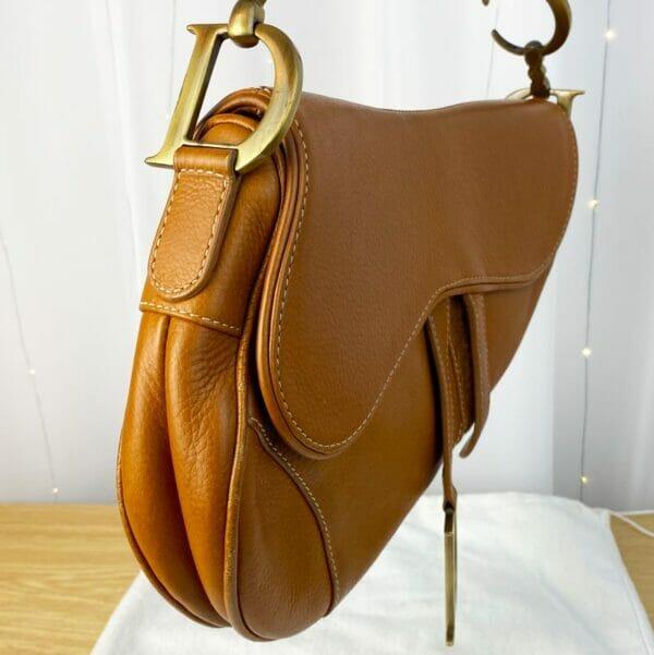 Dior Saddle Bag Tan Camel Gold Hardware on person model side