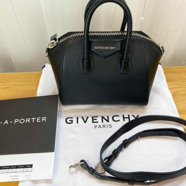 Givenchy antigona mini consignment Emma black calf leather with receipt