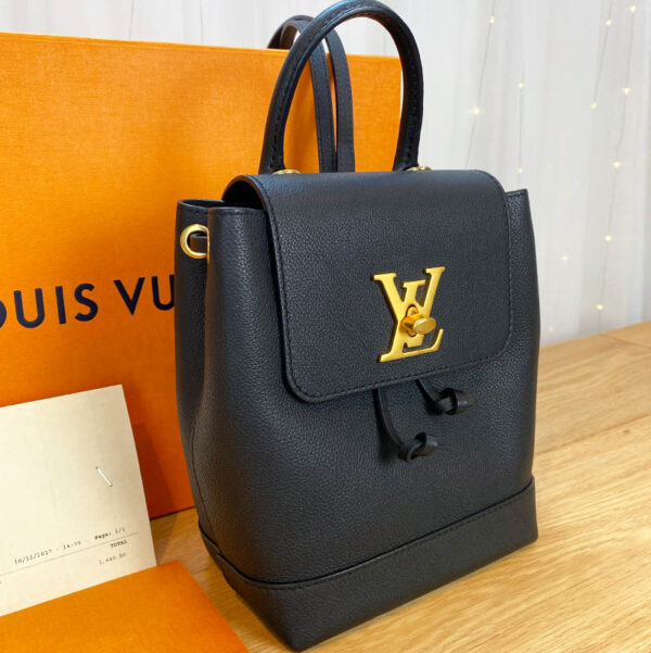 Louis Vuitton LockMe Mini Backpack Black and Gold Side