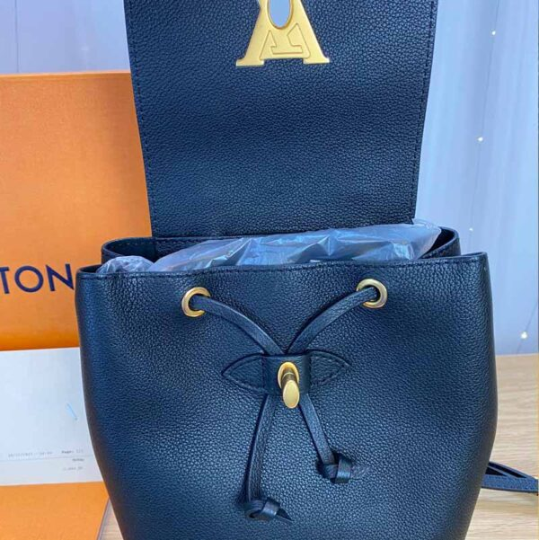 Louis Vuitton LockMe Mini Backpack Black and Gold open