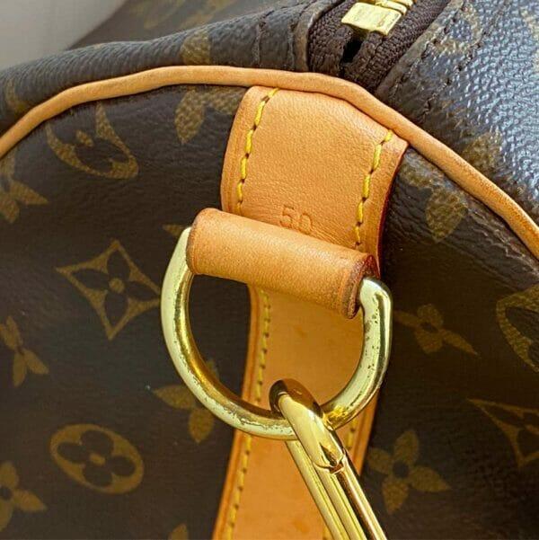 Louis Vuitton monogram keepall 50 vachetta leather 50 stamp