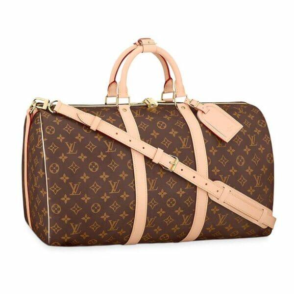 Louis Vuitton monogram keepall 50 vachetta leather
