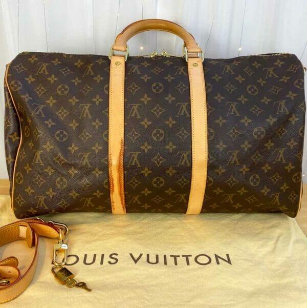 Louis Vuitton monogram keepall 50 vachetta leather back mark