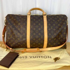 Louis Vuitton monogram keepall 50 vachetta leather front