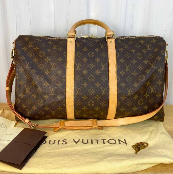 Louis Vuitton monogram keepall 50 vachetta leather front