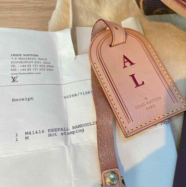Louis Vuitton monogram keepall 50 vachetta leather receipt and tag