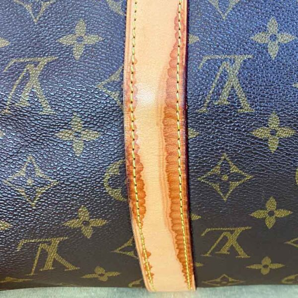 Louis Vuitton monogram keepall 50 vachetta leather watermark on leather