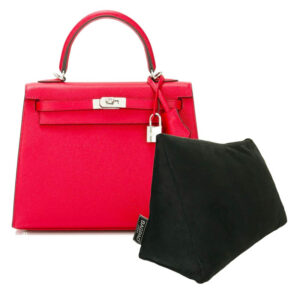 Black medium velvet bag shaper bagpad Hermes Kelly bag
