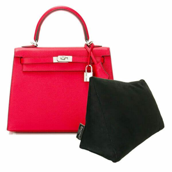 Black medium velvet bag shaper bagpad Hermes Kelly bag