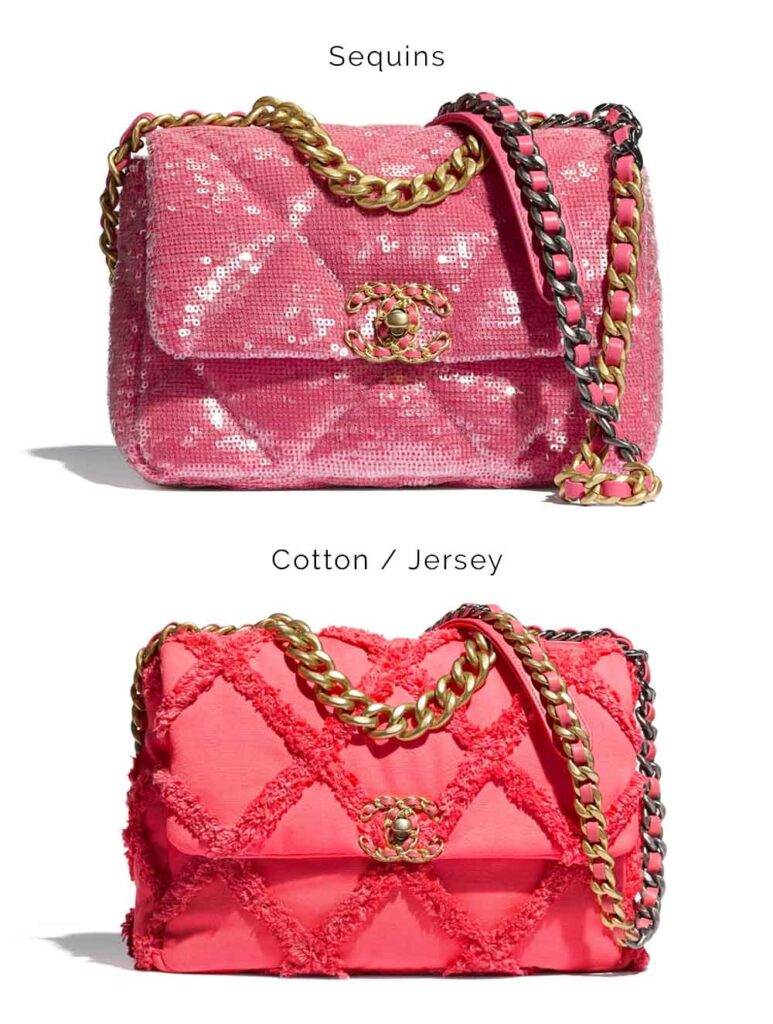 Chanel 19 bag in sequin and cotton / jersey fabric comparison