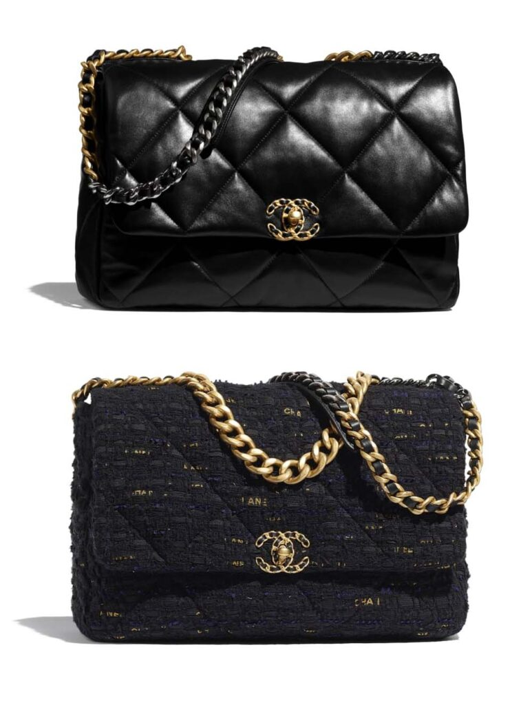 Chanel 19 maxi flap bag leather and tweed