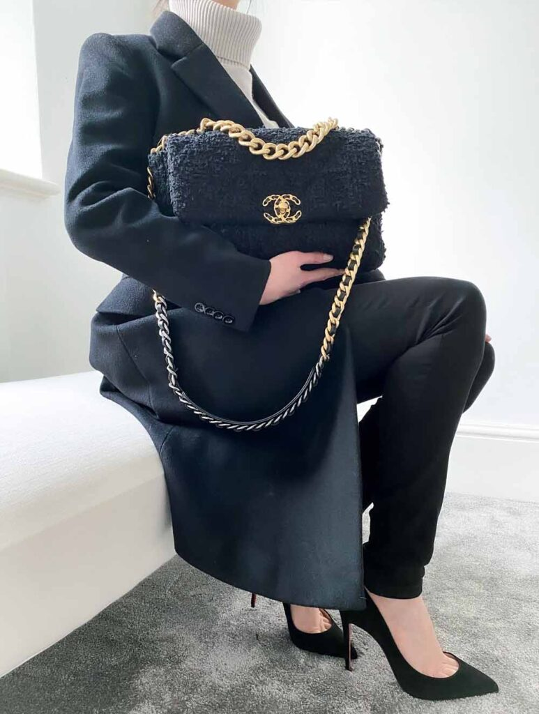 Chanel 19 bag black tweed large with black coat winter outfit