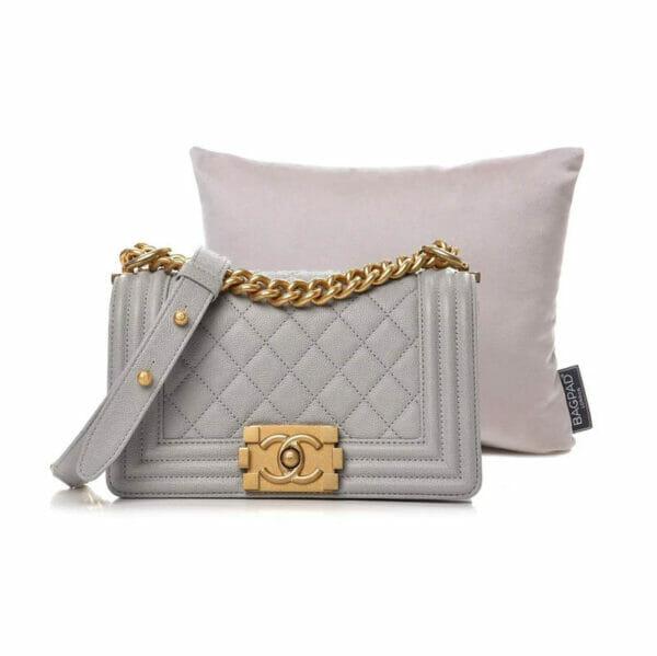 Extra small silver velvet purse pillow chanel boy bag